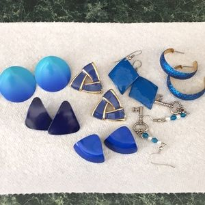 Bundle of Blue Pierced Earrings
